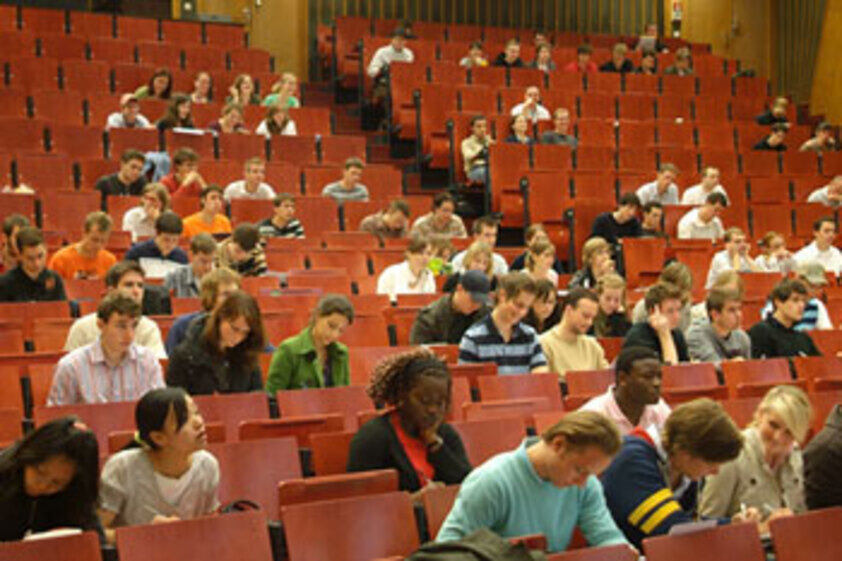 Lecture hall with students