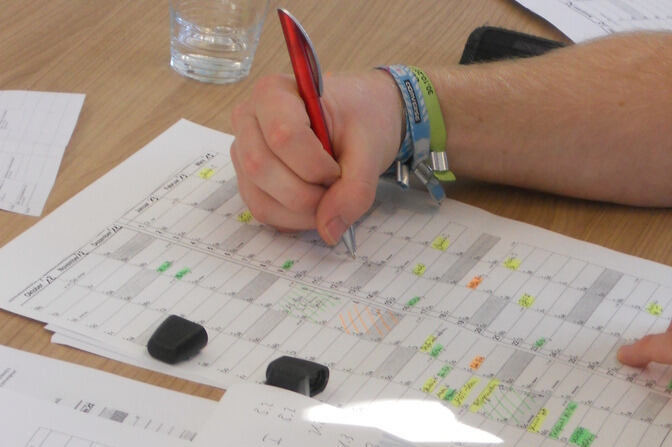 Student filling out a schedule