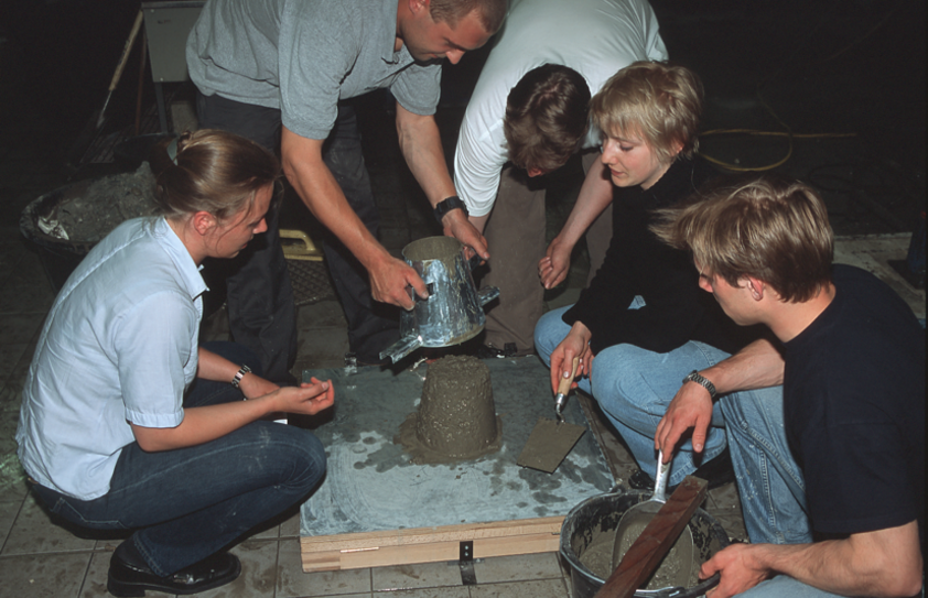 group of students testing concrete
